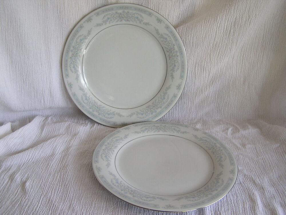 2 crown ming fine china diana blue pink flowers silver rim for Diana dishes