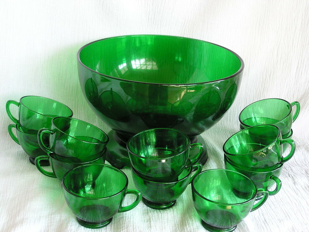 vintage forest green glass anchor hocking punch bowl 12 cups stand complete set ebay. Black Bedroom Furniture Sets. Home Design Ideas
