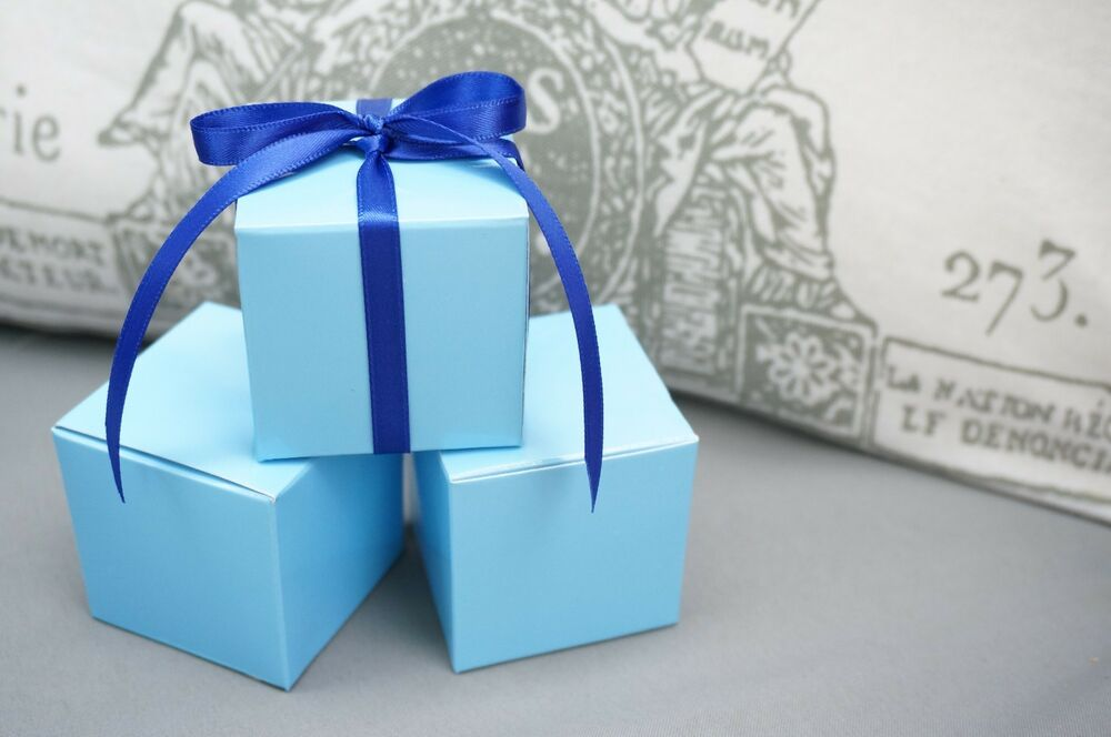 Favour Boxes Baby Blue : Set of baby light blue square favor box boxes jewelry