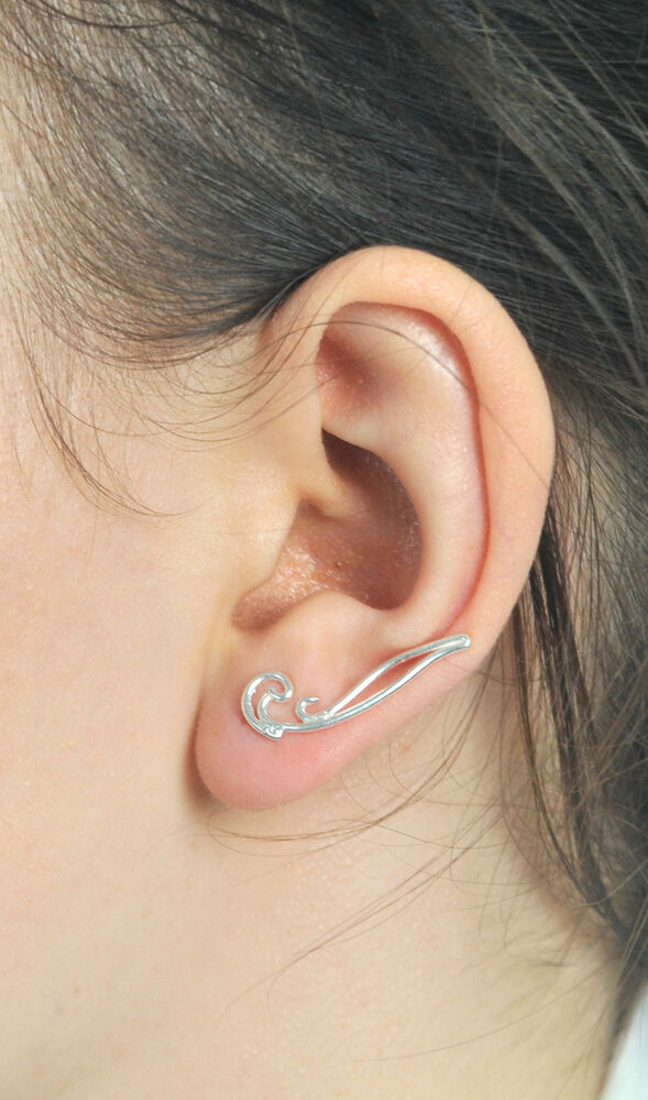 sterling silver ear crawler earrings ear crawlers climber. Black Bedroom Furniture Sets. Home Design Ideas