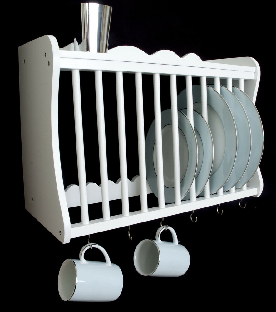 41007 W White Kitchen Plate Rack Wall Mounted Wooden
