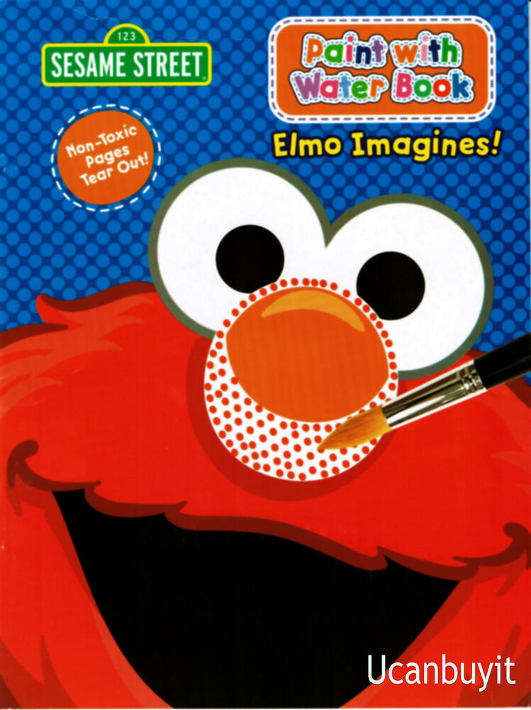 ELMO IMAGINES! Paint With Water Book w/Paint Brush & Back ...