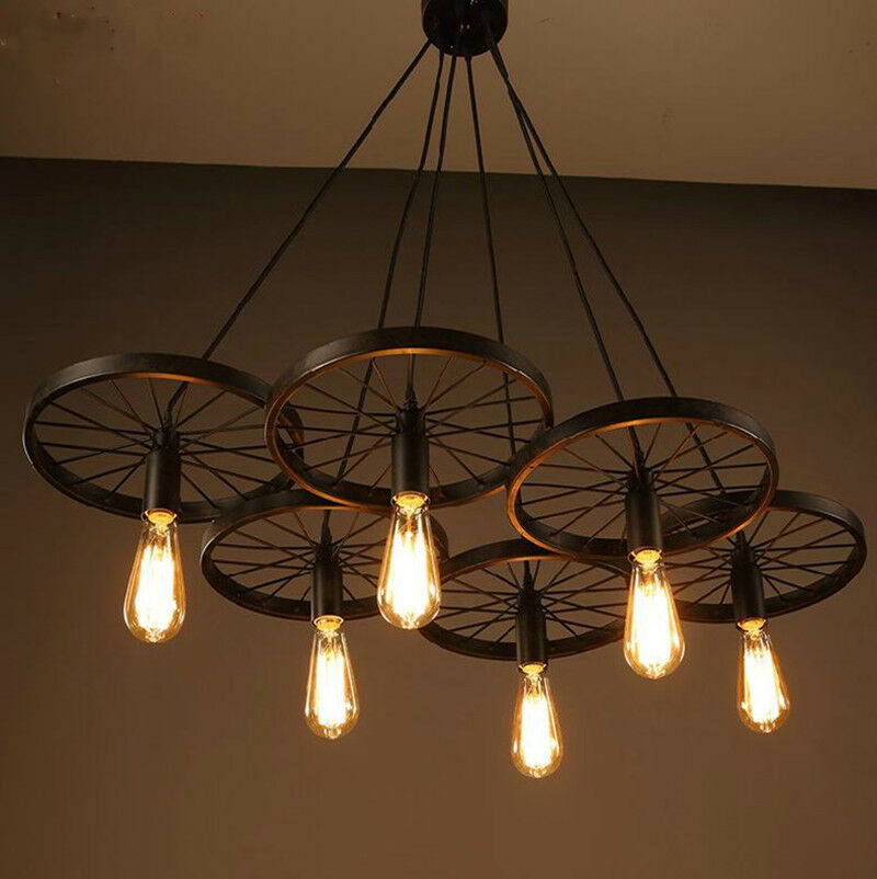 New Diy Loft Retro Iron Bicycle Wheels Pendant Lights