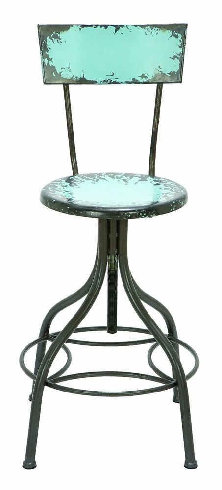 Distressed Painted Metal Bar Stool High Back Footrest