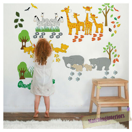Childrens Savannah Animals Safari Wall Stickers Decals Nursery Bedroom Kids Ebay