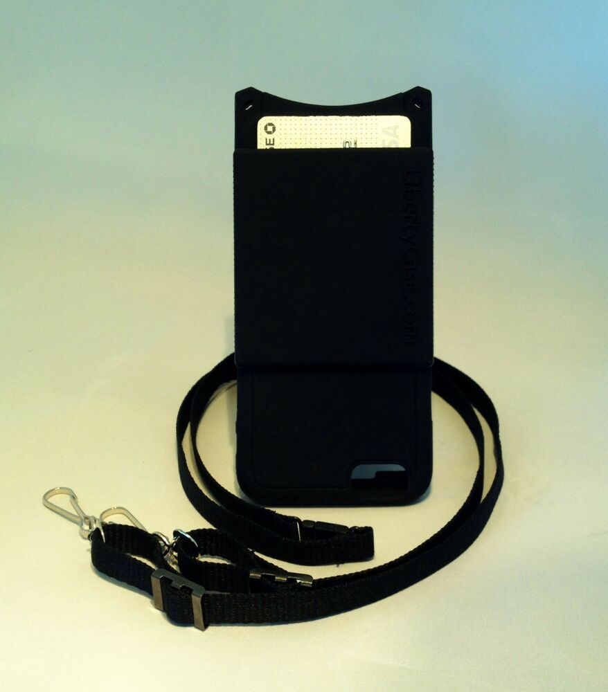 iphone lanyard case iphone 6 6s black with credit card pocket 7112