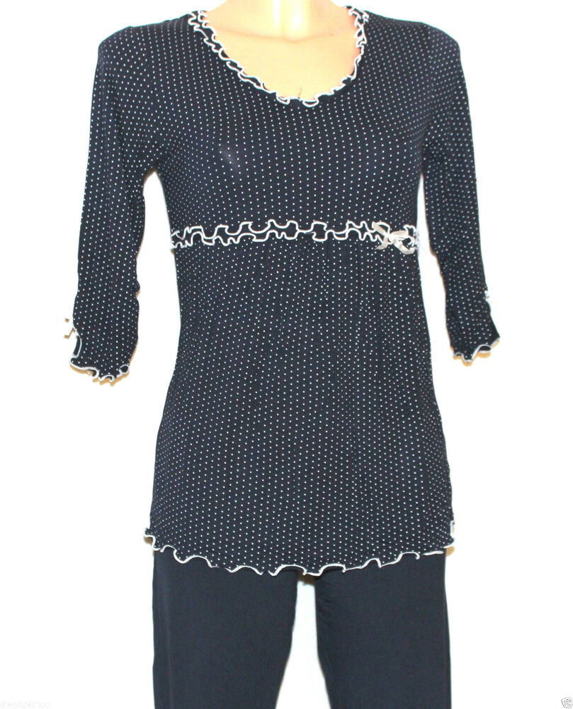 elegante damen pyjama 3 4 gr m 2xl farbwahl ebay. Black Bedroom Furniture Sets. Home Design Ideas
