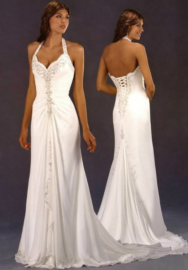 Halter neck chiffon wedding dress bridal gown custom size for Ebay wedding dresses size 12