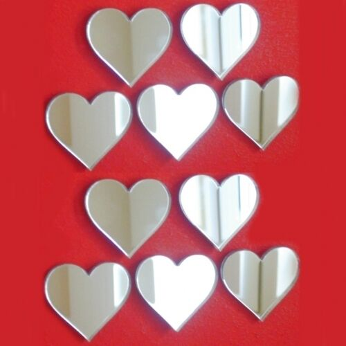 pack of 10 heart mirrors 4cm crafting decorative 3mm acrylic mirrors 4x3cm ebay. Black Bedroom Furniture Sets. Home Design Ideas