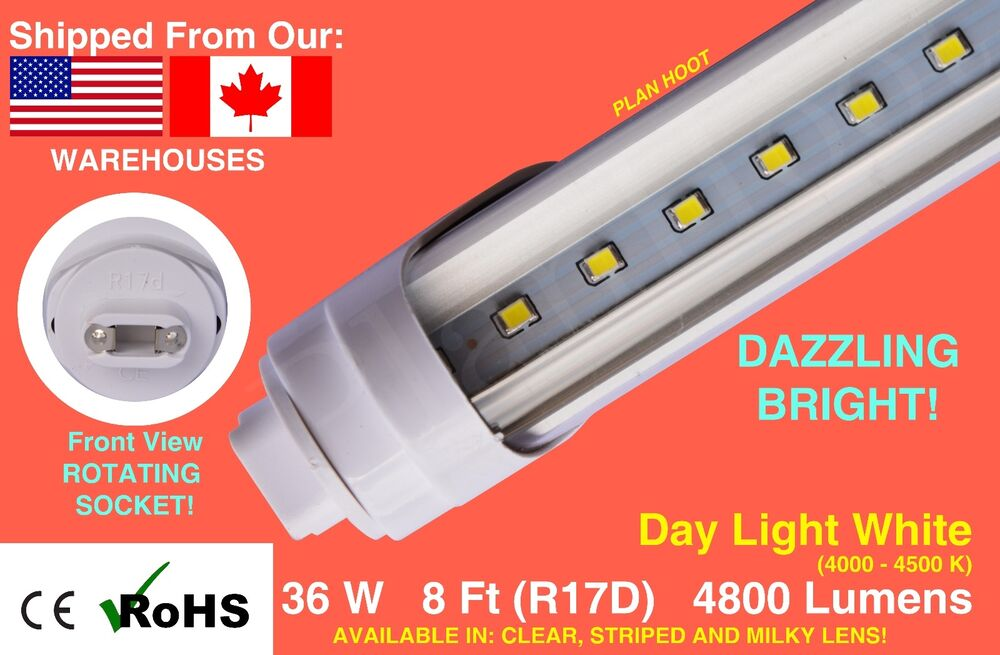 R17d 8ft 36w 5000k Clear Striped Milky Led Replacement