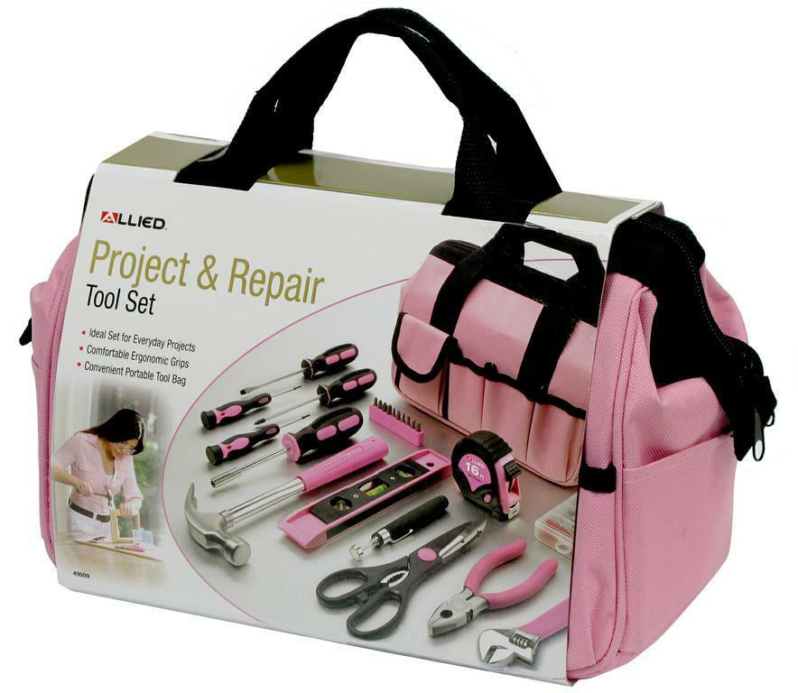 Ladies Pink 76PC Tool Bag Assortment Set Kit Women's ...