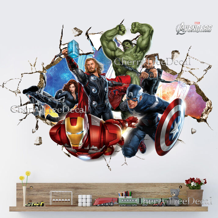 Super Hero Avengers Wall Crack Decal Sticker Boys Bedroom