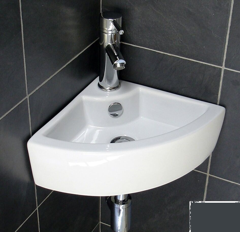 Compact Small Corner Wall Hung Cloakroom Ceramic Basin Sink eBay