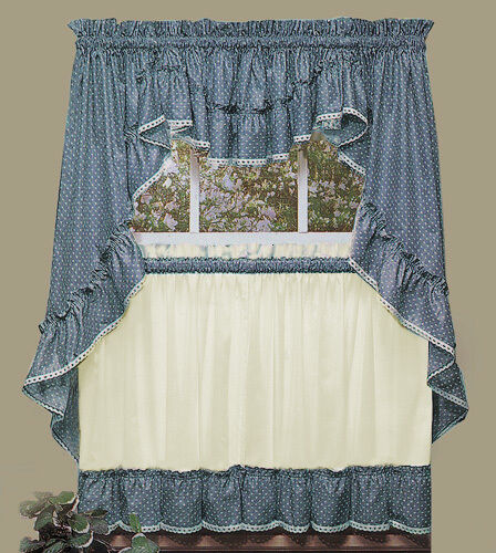 Sturbridge Blue Ruffled Kitchen Curtains By