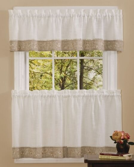 New Oakwood Kitchen Tier Curtain Ebay