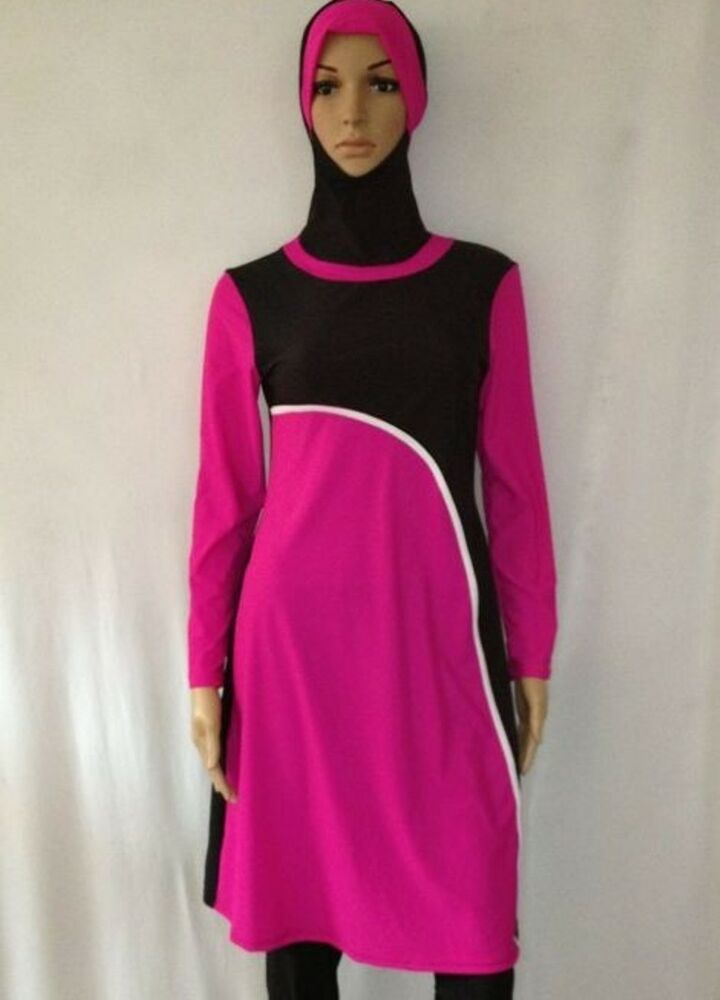 Full Cover Burkini Modest Black/Pink Muslim Swimsuit ...