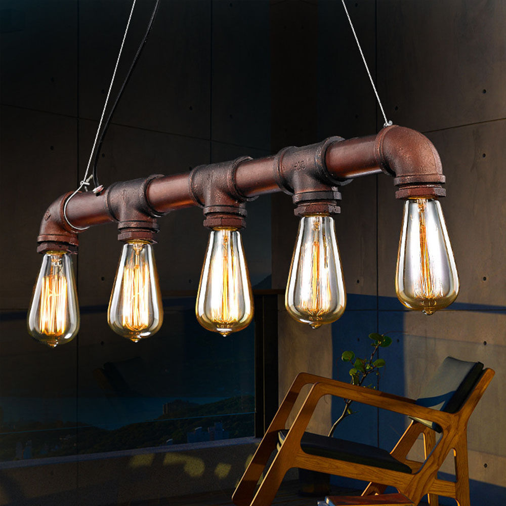industrial vintage metal pipe pendant lamp steampunk ceiling chandelier lights ebay. Black Bedroom Furniture Sets. Home Design Ideas