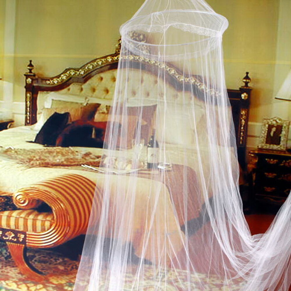 Canopy Bedroom Curtains: Elegant Round Lace Insect Bed Canopy Netting Curtain Dome