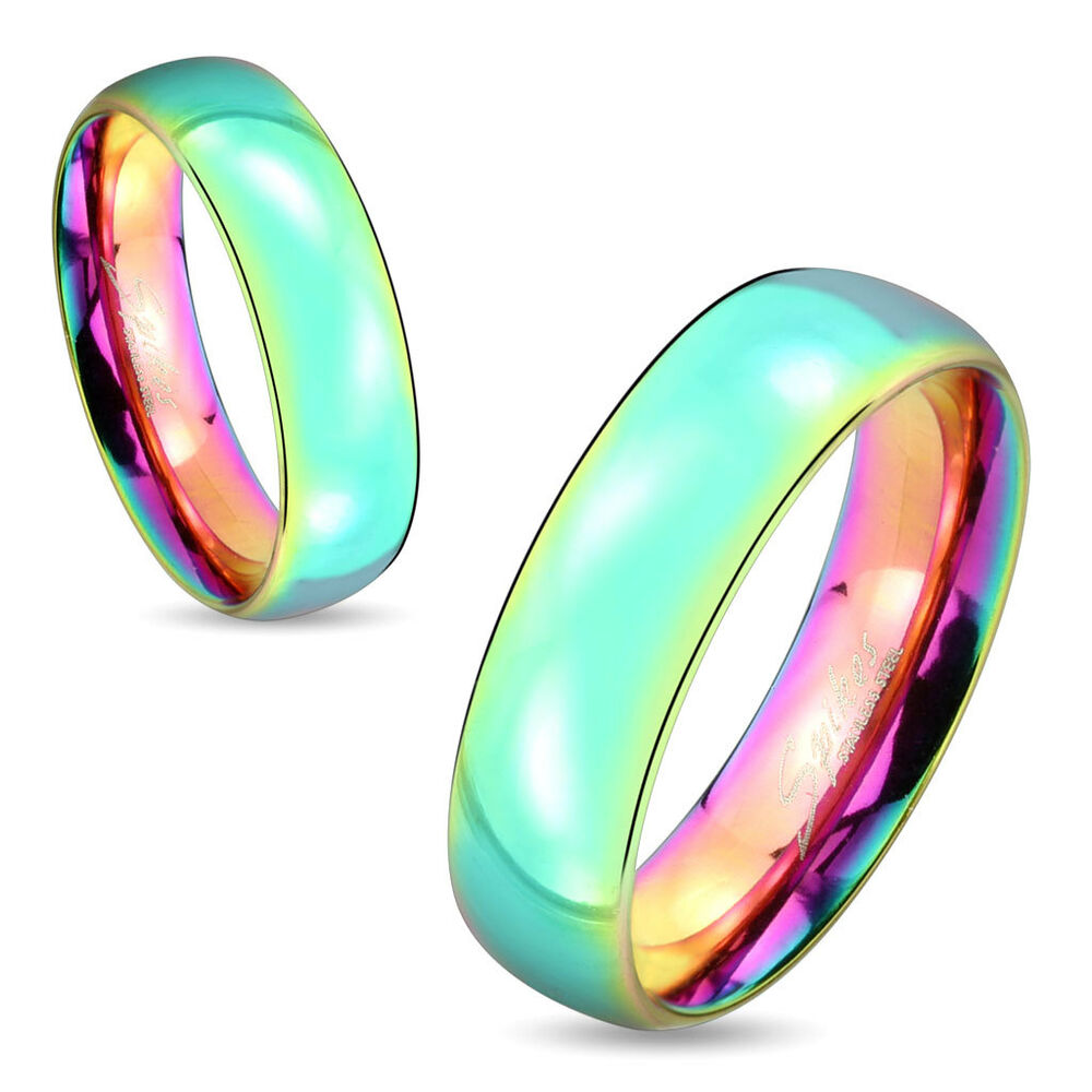 one stainless steel 6mm rainbow hue wedding dome band