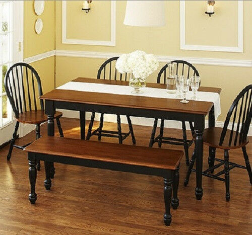 dining kitchen set table bench 4 windsor chairs black brown ebay