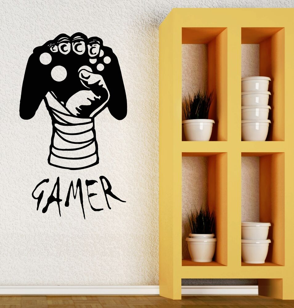 Wall decal gamer video game boys room joystick vinyl for Boys wall art