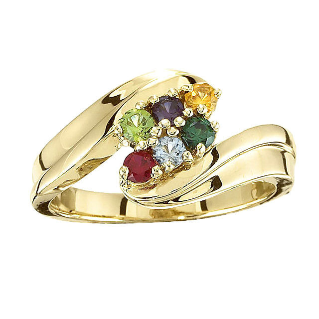 14k Solid Gold Mother S Day Ring 1 To 7 Birthstones Moms