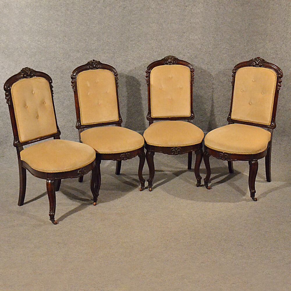 Quality Dining Chairs: Antique Upholstered Dining Chairs Quality Set 4 English