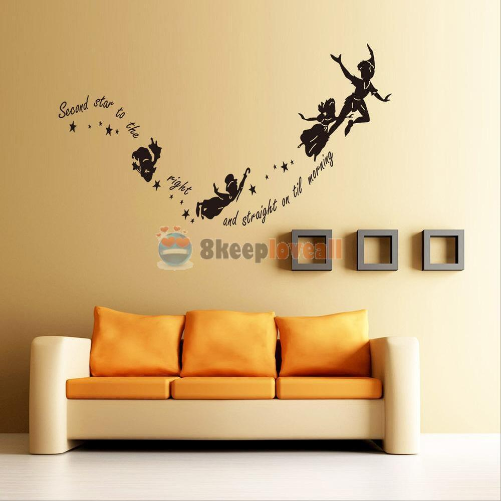 Tinkerbell star peter pan wall decal kids room nursery mural home decor stickers ebay - Wall decor murals ...