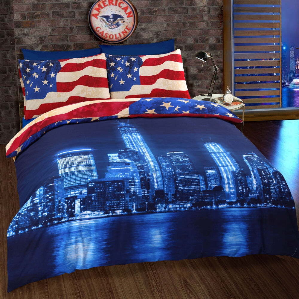 New York Blue Skyline American Flag Usa Reversible Quilt
