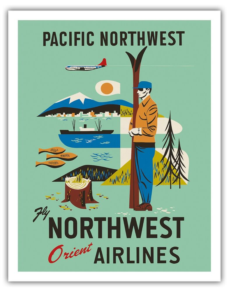 Pacific Northwest Cascadia Vintage Airline Travel Art Poster Print Giclee