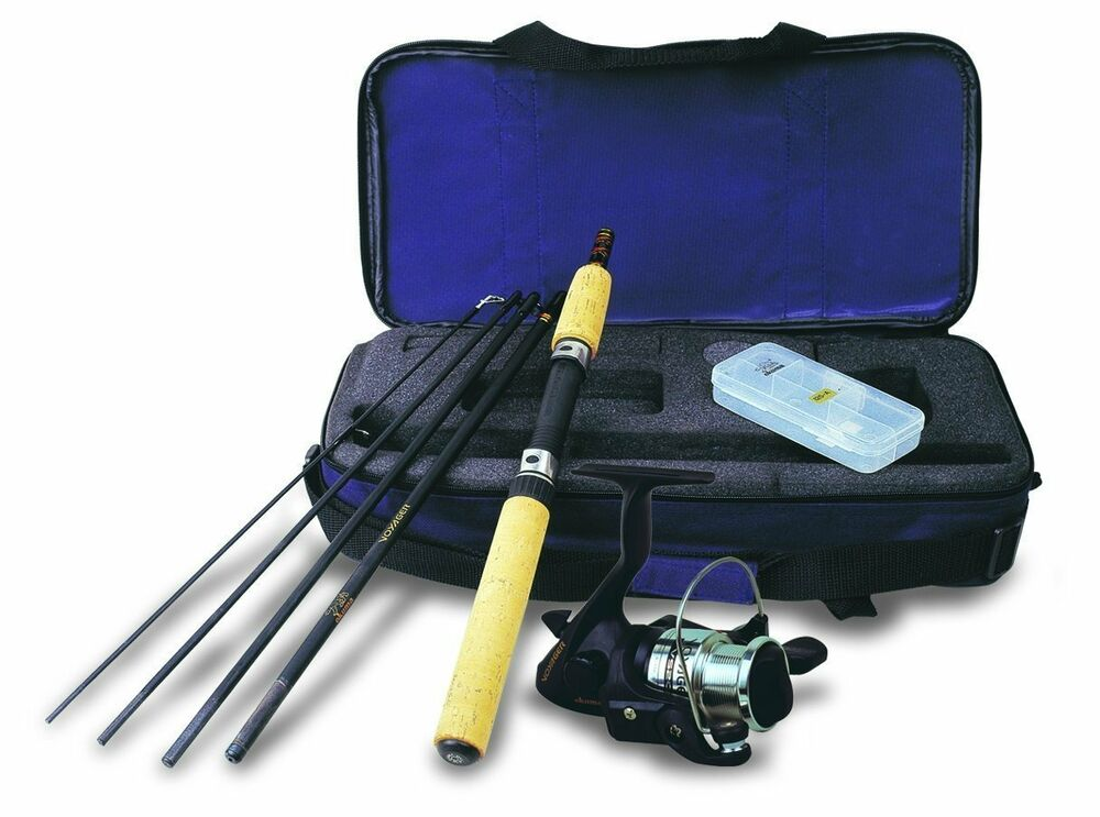 Fishing rod and reel combos kit compact trout gear for Trout fishing rod and reel