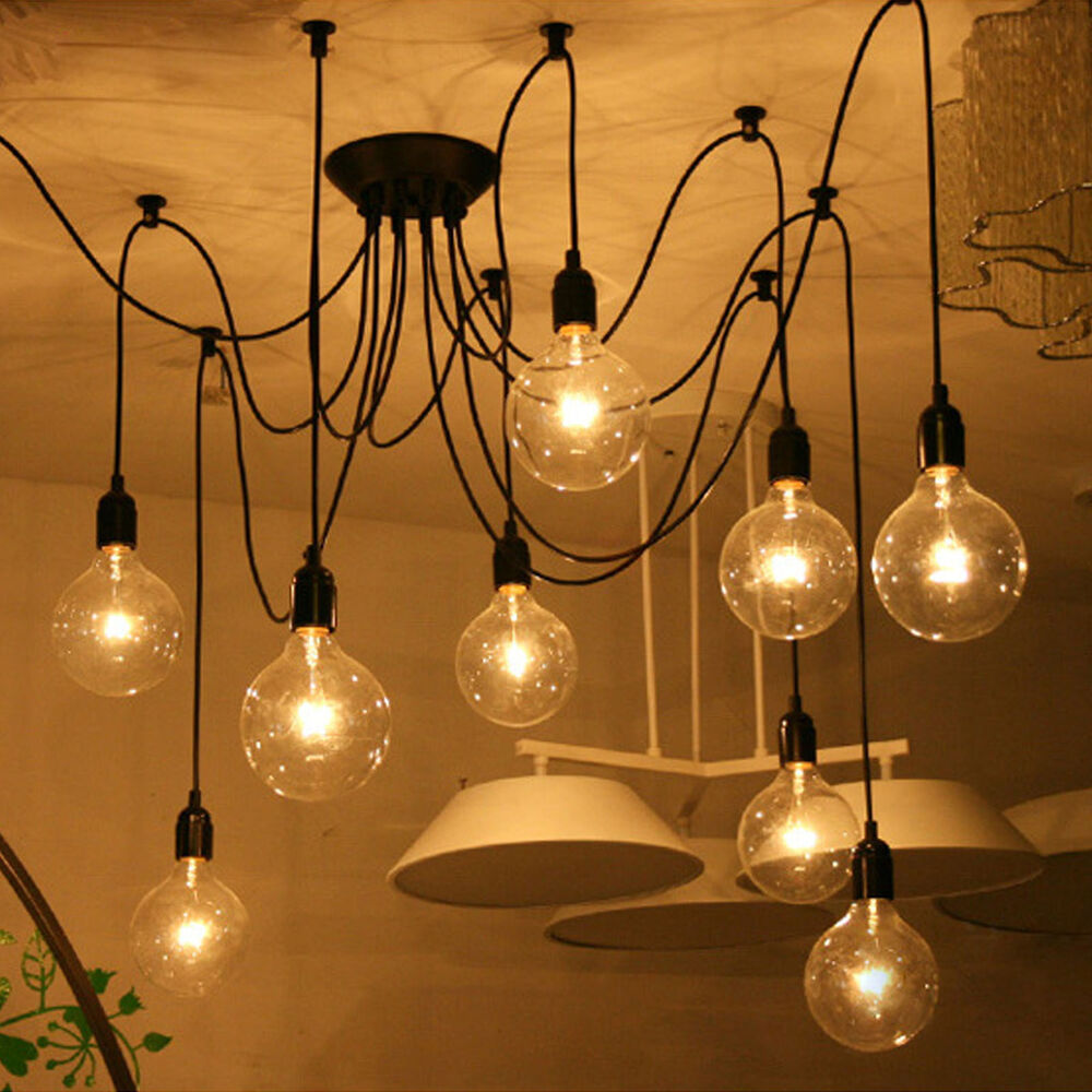 Vintage fixture retro pendant light ceiling lamp chandelier lighting 8 6 lights ebay - Ceiling lights and chandeliers ...