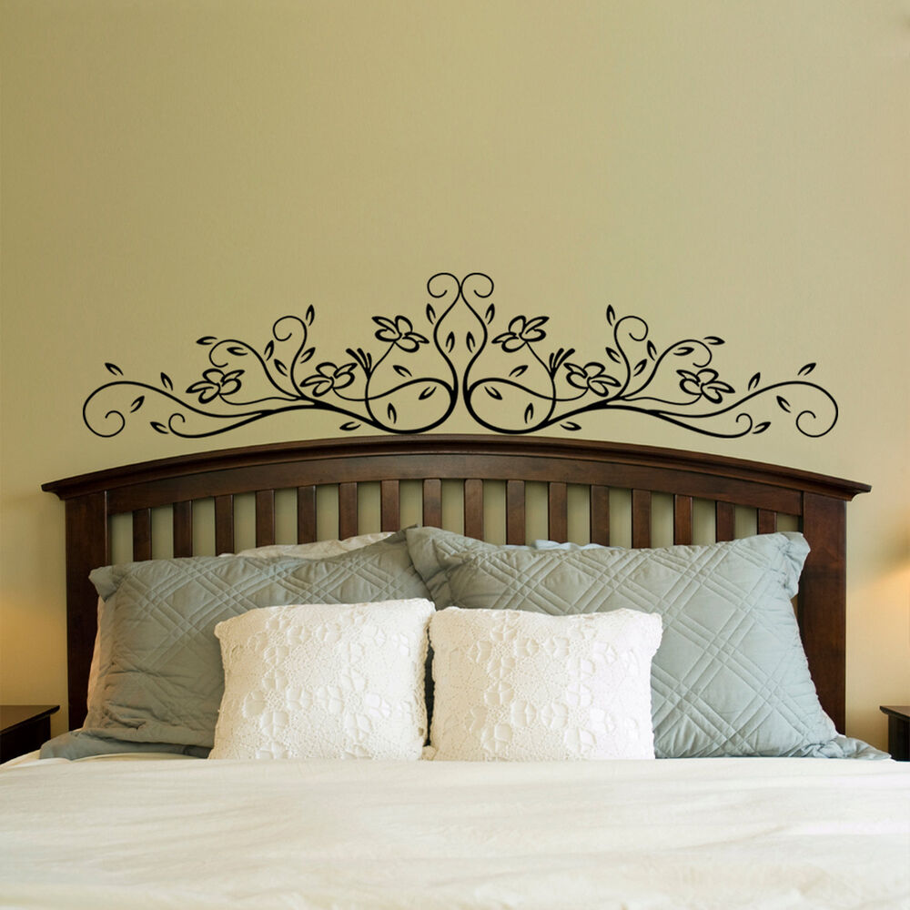 Large vinyl wall decal sticker bedroom headboard pattern for Mural headboard