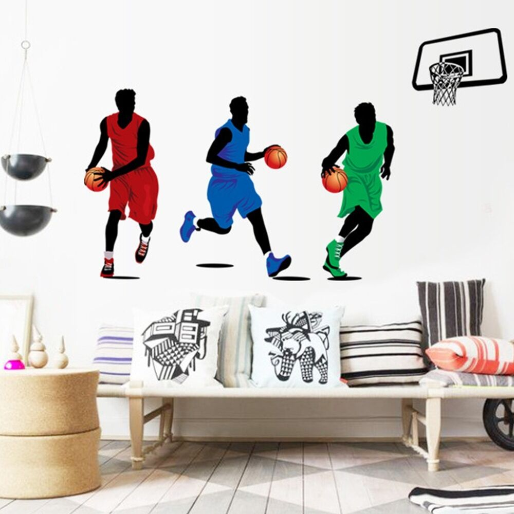 Basketball 3d Player Sport Removable Wall Art Decal Pvc