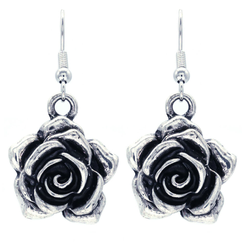 Vintage Antique Style Rose Flower Dangle Earrings Silver ...