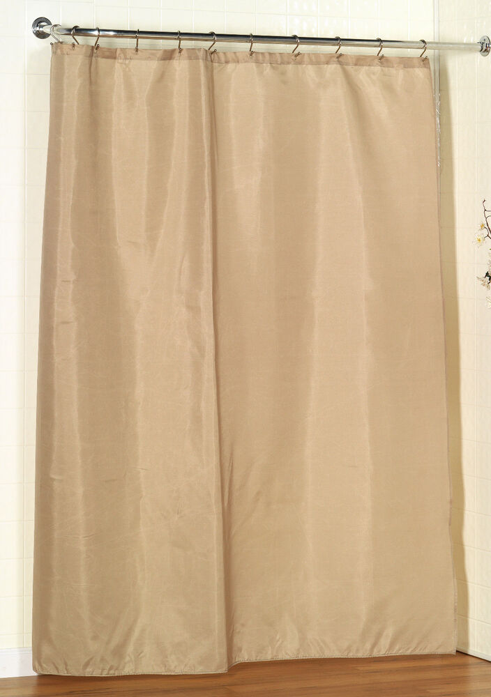 100 Polyester Fabric Shower Curtain Liner W Weighted