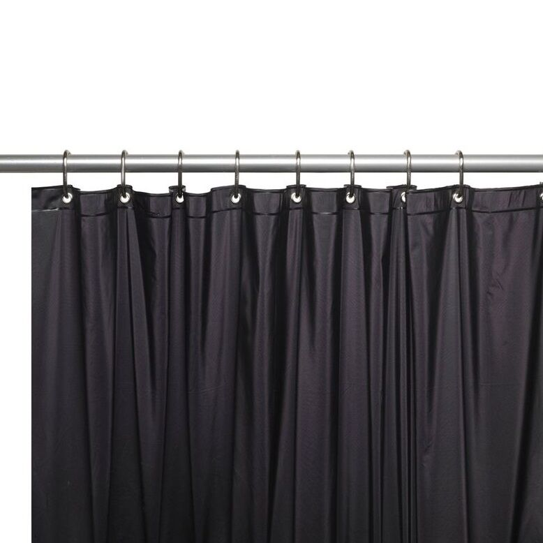 Carnation Home 3 Gauge Vinyl Shower Curtain Liner With Metal Grommets Black New Ebay