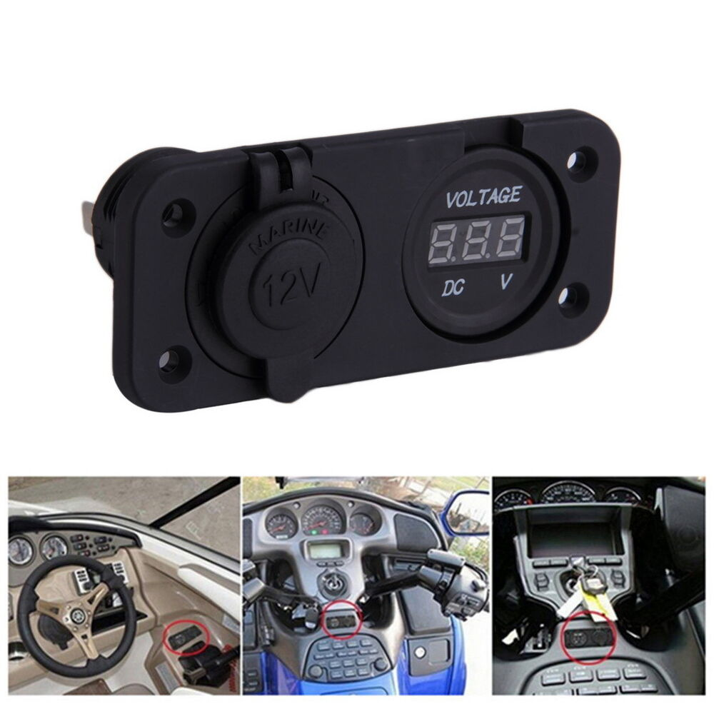 12 Volt Panel Meter : V led waterproof socket power outlet volt meter panel
