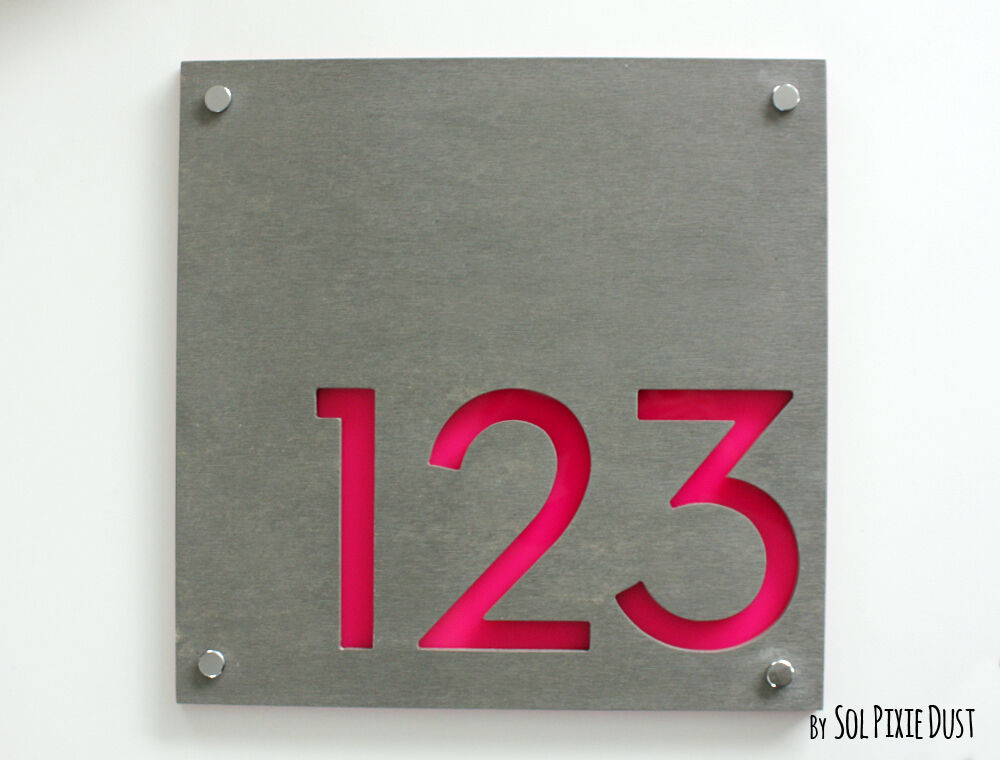 Modern house numbers square concrete pink acrylic sign for Modern house number plaques
