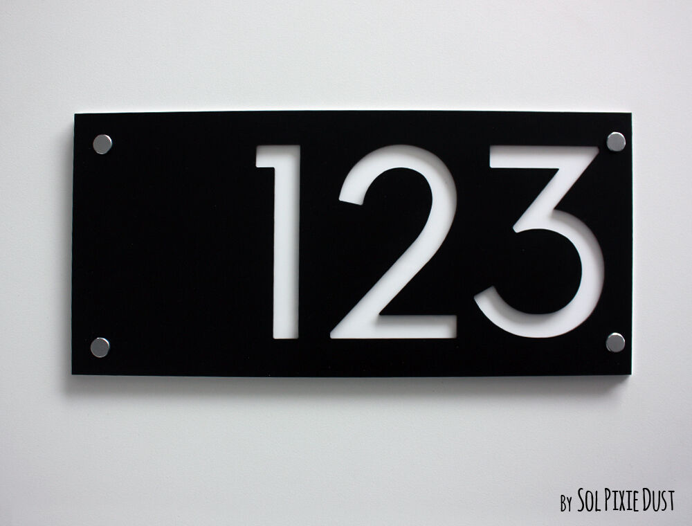 modern house numbers rectangle black white acrylic sign plaque door number ebay. Black Bedroom Furniture Sets. Home Design Ideas