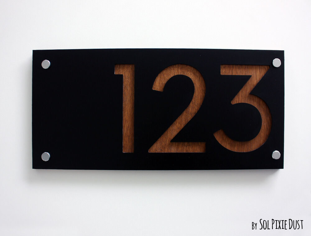 Modern house numbers rectangle black acrylic wood sign for Modern house number plaques