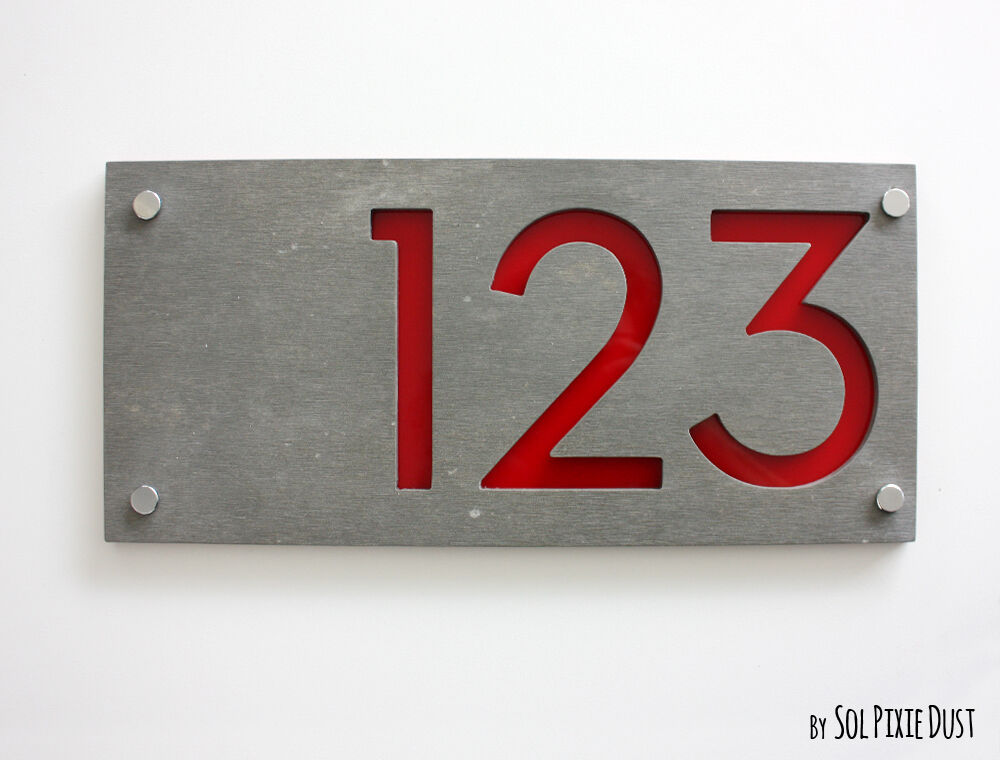Modern house numbers concrete red acrylic sign plaque for Modern house number plaques