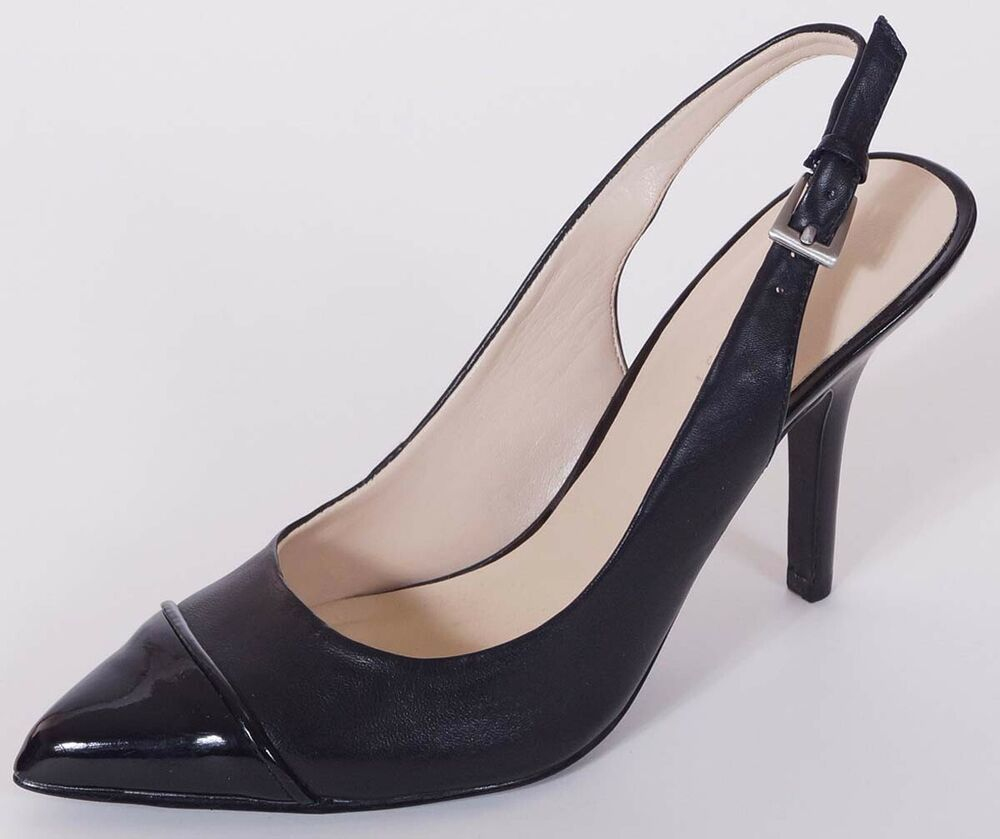 nine west geordene womens black leather slingback cap toe