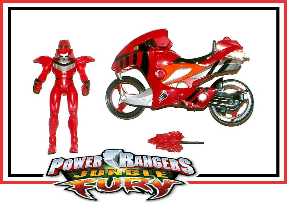 power rangers jungle fury red ranger with strike rider motorcycle ebay. Black Bedroom Furniture Sets. Home Design Ideas