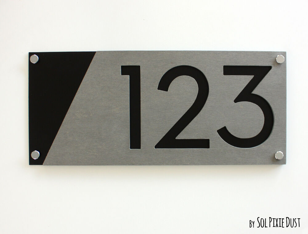 Modern house numbers concrete black acrylic sign for Modern house number plaques