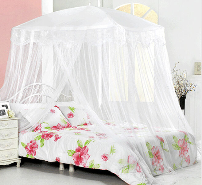 New Bed Canopy Mosquito Net White Lace Bedding Fits Twin