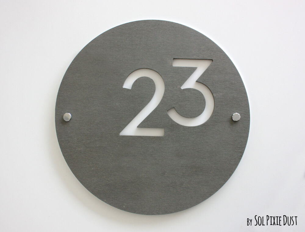 modern house numbers round concrete white acrylic sign plaque door number ebay. Black Bedroom Furniture Sets. Home Design Ideas