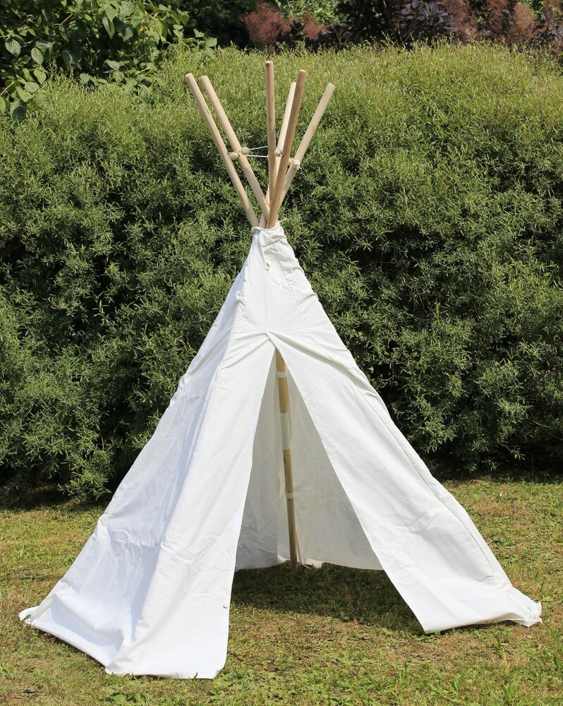 kinder tipi wigwam kinderzelt indianer zelt mit holz stangen 110 069 ebay. Black Bedroom Furniture Sets. Home Design Ideas