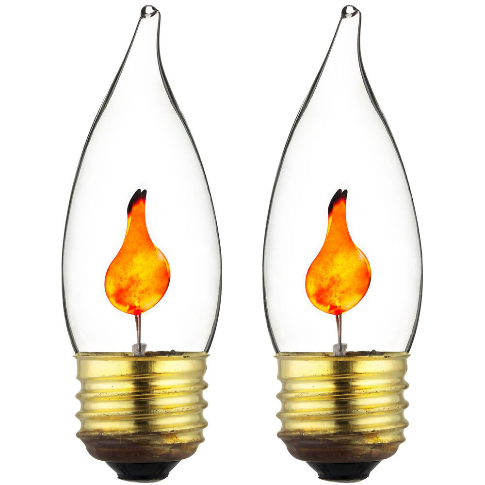 2pk Flickering Flame Standard Light Bulbs 3w Realistic Candle Flicker E26 New Ebay