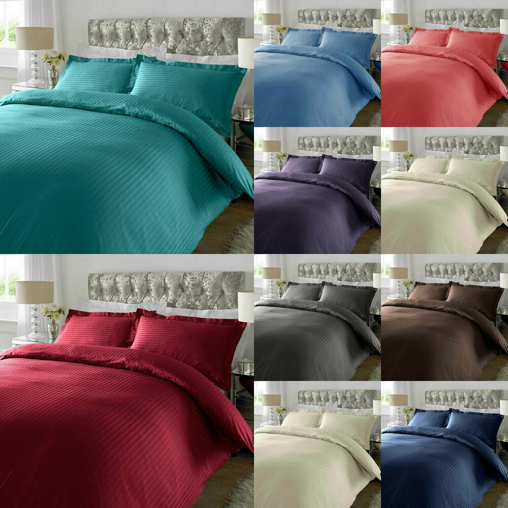 300 Thread Count Satin Stripe Duvet Cover With Oxford